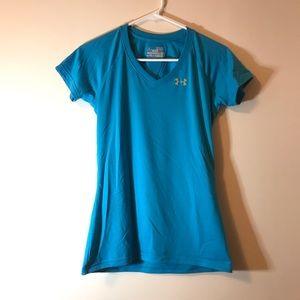 Under Armour Size XS Blue V Neck Short Sleeve